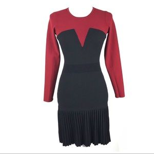 Sandro Paris dress color block pleated drop waist